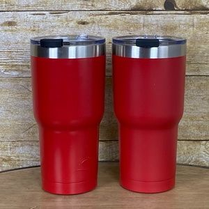 Kitchen - RED STAINLESS STELL TUMBLERS WITH CLEAR LIDS